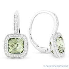 3.25 ct Green Amethyst & Diamond Halo Leverback Drop Earrings in 14k White Gold
