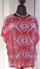 CHICO'S Women's Blouse Knit Top Diamond Red White Size 2 Excellent