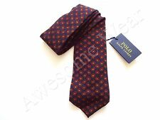 New Ralph Lauren Polo Italy 100% Wool Handmade Navy w/ Red Paisley Print Tie