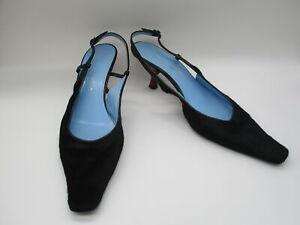 DOLCE & GABANNA black pony hair slingback red kitten heel pump sz 40
