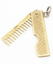 Insolito e raro Barbieri pettine pieghevole 9ct oro giallo ciondolo completamente marchiato