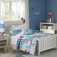 Construction Trucks Trains Airplanes Boys Twin Comforter (6 Piece Bed In A Bag)