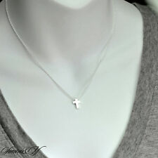 "Sterling Silver 925 Small Plain Cross Women's Ladies Pendant Necklace 16""-18"""