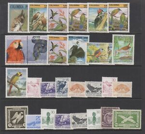 Columbia / Colombia - Small Collection of 28 Bird stamps - MNH