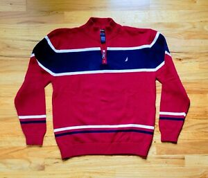 Nautica Youth Boys Blue & Red Quarter Zip Pullover Sweater Size Y Large (14-16)