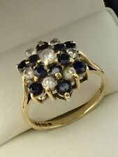 Vintage 9ct Yellow Gold Sapphire & CZ Cluster Dress Ring Size O
