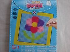 "FLOWER Needlepoint Kit 6""x 6"" YellowFrame Perfect for Children-Learn To Sew NEW"