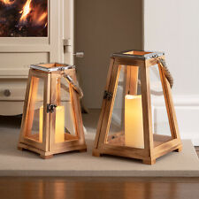 Regular/Large Wooden Battery Operated Indoor Flameless LED Candle Lantern