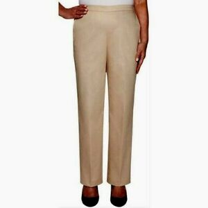 Alfred Dunner Women Pants Size 18 Tan Classic Fit Trousers Proportioned Short