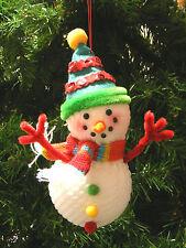 KNIT SNOWMAN WEARING SCARF & WINTER HAT CHRISTMAS TREE ORNAMENT