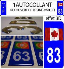1 sticker plaque immatriculation auto DOMING 3D RESINE DRAPEAU CANADA FLOTANT 83