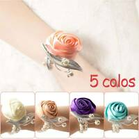 Beautiful Wedding Party Wrist Corsage Bracelet Bridesmaid Sisters Hand Flowers