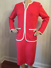 NEW ST JOHN KNIT 12 SKIRT SUIT JACKET SANTANA KNIT VENISE RED CORAL WOOL RAYON