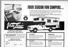 1969 Print Ad Vista Liner Pickup Truck Camper Top Salt Lake City,Utah