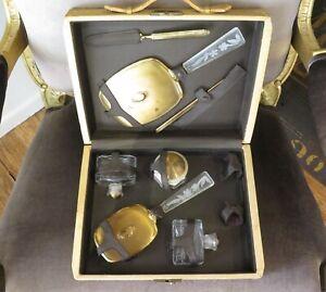 .Vintage 1950's Era Collectable Ornate Vanity Set in Original Hard Plastic Case