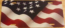 USA UNITED STATES Flag Custom License Plate AMERICAN Emblem WAVE Version II