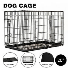 """20"""" Portable Dog Crate Pet Cage Collapsible Metal Kennel House 2-Door w/ABS Tray"""