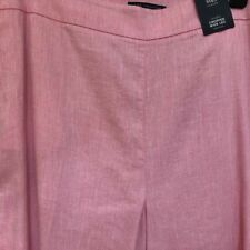 BNWT MARKS & SPENCER COLLECTION LINEN MIX CROPPED TROUSERS PINK SIZE 22 REGULAR