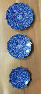 Persian Handmade Mina Kari Copper Enameled Decorative Plates