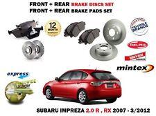 FOR SUBARU IMPREZA 2.0i R RX 2007-2012 FRONT + REAR BRAKE DISCS SET + PADS KIT