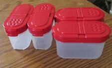 LOT OF 4 NEW SMALL TUPPERWARE SPICE SHAKERS WITH RED SEALS