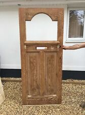 EDWARDIAN FRONT DOOR  RECLAIMED WOOD GLASS DECO PERIOD OLD ANTIQUE PINE PREPPED