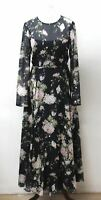 HOBBS Navy Blue Silk Long Sleeve Crew Neck Floral Rosabelle Dress UK8 BNWT