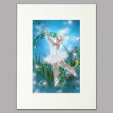 "Moonlight Ballerina Print women/girls blue bedroom Mounted Wall Art A4 12"" x 16"""