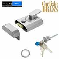 CARLISLE BRASS EUROSPEC 40mm DOUBLE LOCKING NIGHT LATCH AND CYLINDER IN CHROME