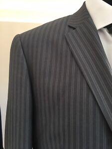 GIORGIO FIORELLI - Grey Twin Pinstripe Notch Lapel - 2 Button S/B Suit 40R