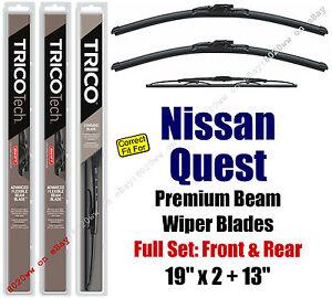 Wiper Blades 3-Pack Front Rear Standard fit 1993-2002 Nissan Quest 19220x2/30130