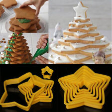 6Pcs/Set Star Christmas Tree Cookies Cutter Biscuit Cake Decor Baking Mould Tool