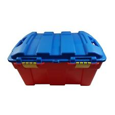 2 X LARGE PLASTIC TOY AND GENERAL STORAGE BOX TRUNK MADE IN UK RED BLUE 58CM