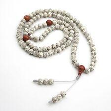 Star&Moon Bodhi Seed Red Gemstone Tibet Buddhist 108 Prayer Beads Mala Necklace