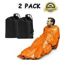 2-Pack Outdoor Emergency Sleeping Bag Thermal Waterproof Survival Camping Travel