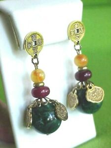 Vintage Faux Green Jade Chinese Coin Symbols Gold Tone Pierced Dangle Earrings