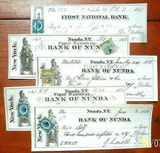 1877-8 First National Bank of Nunda NY - 5  Checks, super Vignettes,  IR Stamps!