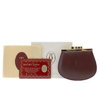Cartier Logos Must Line Coin Case Bordeaux Leather Vintage Authentic #AC544 O