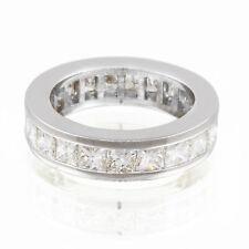 1.50 Carat Channel Settings Eternity Band Princess Cut Diamond 18K White Gold