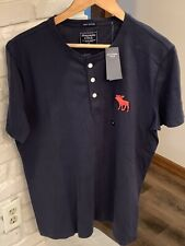 Navy Blue Mens Size XL Abercrombie & Fitch Henley Shirt