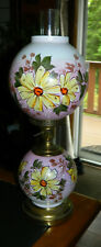 VINTAGE / ANTIQUE Gone With The Wind PINK PARLOR LAMP Hand Painted Flowers