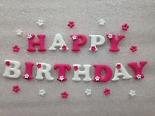 Edible Fondant Icing 'Happy Birthday' - Cake Topper With 12 Blossoms Pink/white