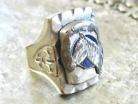 VINTAGE 1950'S MEXICO MEXICAN BRASS BIKER SOUVENIR GOOD LUCK HORSE MENS RING