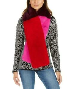 MSRP $69 Inc Colorblocked Faux-Fur Muffler Scarf Pink One Size