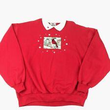Vtg 90s Pullover Collared Sweatshirt Cardinal Red Bird Grandma Embroidered XL