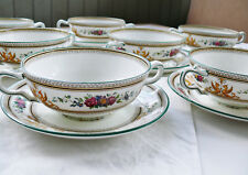 8 Wedgwood COLUMBIA W595 Cream Soup Bowls & Saucers, B Condition / Some Wear
