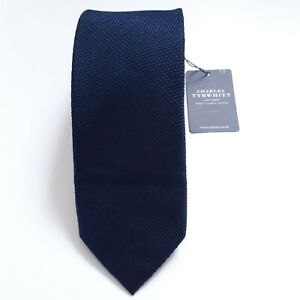 Mens Charles Tyrwhitt Classic Plain Slim Navy Blue 100% Silk Tie BNWT New