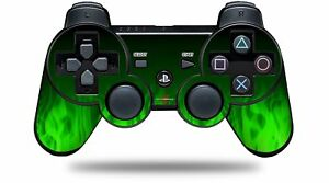 Skin for PS3 Controller Fire Green CONTROLLER NOT INCLUDED