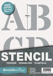 """Letter Stencil Set ALPHABET / NUMBERS 100mm tall (4"""" ) VERY LARGE ROMAN CAPITALS"""