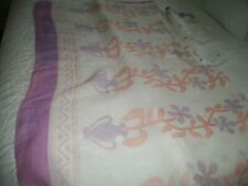 Sari, White Cotton with Lavender, and Orange Print with Blouse piece